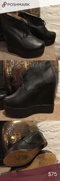 e3b05249b33d ACNE Booties Black and Brown Good condition Italian leather platform booties  by Acne. No scratches on leather.