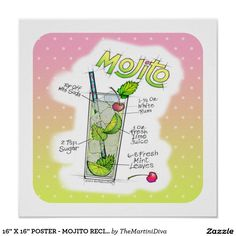 Protect your kitchen counters & tables with trivets. Cuban Mojito, Mojito Cocktail, Mojito Recipe, Fancy Drinks, Elvish, Colorful Drawings, Office Gifts, Custom Posters, Custom Framing