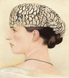 Profile Portrait of Delfina Boutet de Monvel, Wearing a Feather Hat by Jeanne Lanvin - Bernard Boutet de Monvel French, 1881-1949 Oil on canvas, 35 x 31,5 cm ; 13 ¾ by 12 3/8 in