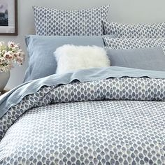 Organic Stamped Dots Duvet Cover + Shams - Moonstone #westelm. - I like this to cover daybed in home office