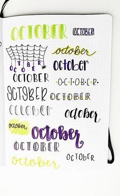 Bullet Journal October, Bullet Journal Paper, Bullet Journal Headers, Bullet Journal Lettering Ideas, Bullet Journal Notebook, Bullet Journal School, Bullet Journal Ideas Pages, Book Journal, Journals