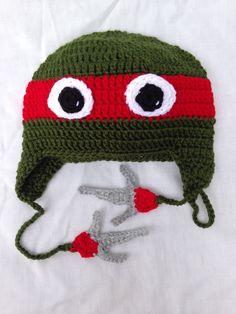 🐢 Padrão Artesão Crochê Ninja Chapéu Tartaruga .-  /  🐢 Crafter Crochet Ninja Turtle Hat Defaults -