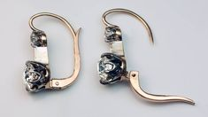 Antique Two Stone Diamond Silver Gold Drop Earrings | From a unique collection of vintage drop earrings at https://www.1stdibs.com/jewelry/earrings/drop-earrings/
