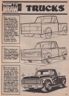 George Trosley - How to draw: Trucks - Drawings - Auto Cartoon Car Drawing, Drawing Cartoon Characters, Cartoon Art, Cars Cartoon, Drawing Lessons, Drawing Techniques, Drawing Tips, Cool Car Drawings, Art Drawings