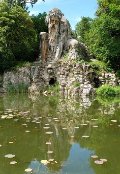 This gigantic 16th century sculpture known as Colosso dell'Appennino is located in the park of Villa Demidoff in Florence, Italy. The structure was erected in 1580 by Italian sculptor Giambologna.