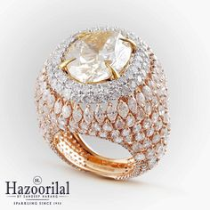 Make a bold statement and stand out alluring with this unique ring in yellow and white diamonds. #HazoorilalBySandeepNarang #StatementJewellery #Diamond #Rings #FancyCuts #Hazoorilal