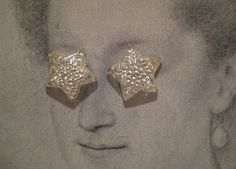 1 pair Stars  Rare Antique 1930s Glass 15mm Star by StarPower99, $3.99