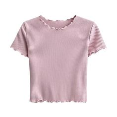 Cropped Frilled T-Shirt Pink ❤ liked on Polyvore featuring tops, t-shirts, crop tops, pink t shirt, flounce crop top, pink top and flutter-sleeve top