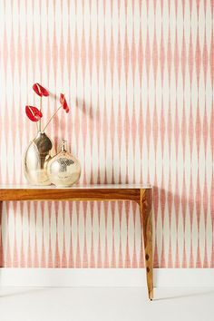 Magnolia Home Handloom Wallpaper by in Red, Wall Decor at Anthropologie Unique Wallpaper, Of Wallpaper, Magnolia Wallpaper, Temporary Wallpaper, Family Room Design, Magnolia Homes, W 6, Home Accessories, Wall Decor