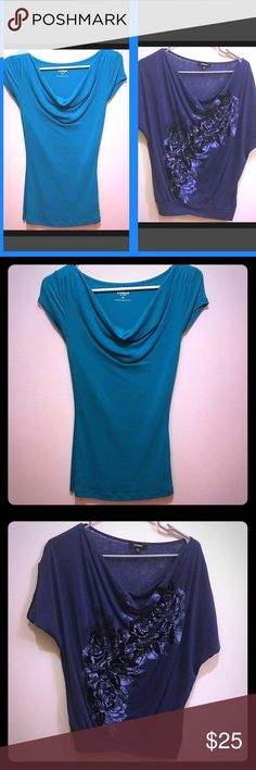 """Cowl neck blouse bundle!! 👚 😍😍😍 Two beautiful cowl neck blouses from Express. TEAL: short sleeved teal blouse, size XS. BLUE: short sleeved blouse with black and gray floral pattern down the front. So pretty! Size XS. Materials as pictured. Length from shoulder to hem for both: 23-24"""" Express Tops Blouses"""
