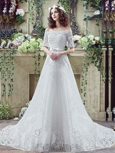 Elegant+Off-the-shoulder+Lace+Appliques+Wedding+Dress+2016+Bowknot+Lace-up
