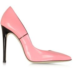Loriblu Pink Patent Leather Pump ($248) ❤ liked on Polyvore featuring shoes, pumps, heels, scarpe, patent leather pumps, pink stilettos, pointed-toe pumps, high heel pumps y stiletto heel pumps