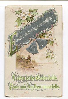 Easter Greetings Silver bells, church, apple blooms Embossed Vintage Postcard, Postcard