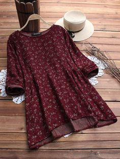 dbdd167ad44d20 Floral Printed Long Sleeve O-neck Shirts For Women look not only special