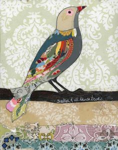 love bird    #collage #bird #mixed media