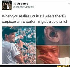 When you realize Louis stil wears the earpiece while performing as a solo artist - iFunny :) One Direction Harry, One Direction Quotes, One Direction Videos, One Direction Pictures, Niall And Harry, Bon Point, Louis Tomlinsom, 1d Imagines, Louis Imagines