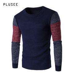 Plusee men sweater pullovers long sleeve patchwork knitted sweater men casual o neck warm new spring men sweaters knitwear M-XXL