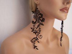 Wisteria black lace dangle earrings.