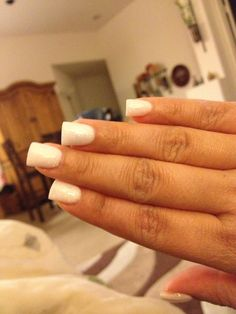White glitter powder acrylic nails