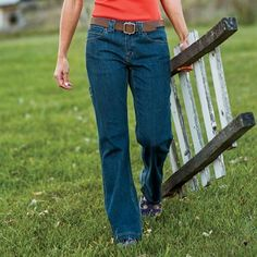 Womens Midweight Flex Denim Work Jeans - do your yard work in style and comfort in Duluth Trading Company's flex work jeans.  Pockets galore and firehose material reinforced hem make these jeans work friendly, comfy and durable.