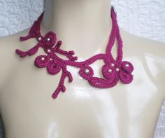 Crochet necklace that looks like seaweed or coral