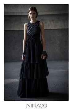 Black silk evening gown Ninaco Couture Id campaign Photographer Mikko Rasila Muah Miika Kemppainen Style Nina Hirvonen Model Maria V from Paparazzi Model Management www.ninaco.co #black #eveninggown #long #dress #silk #ninaco #couture #design