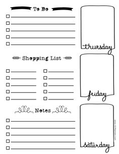 A Printable Planner Page Weekly Calendar Template Bullet