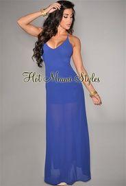 Royal-Blue Daring Back Maxi Dress