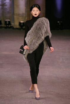 7.  CHRISTIAN SIRIANO FALL 2012; Modern day fur shawl similiar to the fur shawls worn by the women during the crinoline period