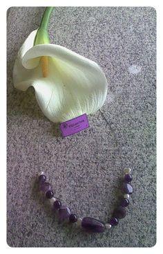 Gargantilla en amatista (3 tipos) y perla en plata de ley.