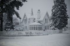 Historic Home in snow