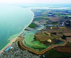 Aerial shot of the recent Medmerry Harbour Scheme, between Bracklesham Bay and Selsey