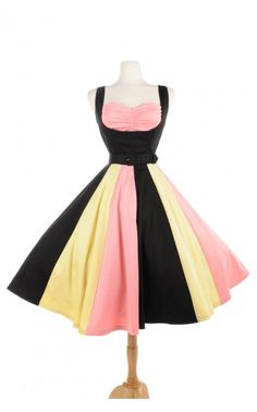 Just Desserts Dress in Black Sateen with Pink and Yellow | Pinup Girl Clothing