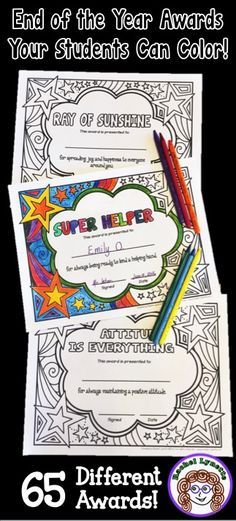 End of the Year Awards your students can color! 65 different awards. Great for if you don't have a color printer. Students can color their own or color for each other. Also available with smaller spaces for older kids.