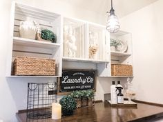Even if you have found the perfect unicorn system for doing laundry, there's no getting around the fact that you spend a lot of time in the laundry room. This room deserves some love. Laundry Room Organization, Laundry Room Design, Laundry Labels, Laundry Room Inspiration, Farm House Colors, Crate Shelves, Farmhouse Laundry Room, Porch Decorating, Home Living Room