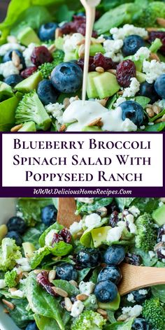 Blueberry Broccoli Spinach Salad With Poppyseed Ranch Blueberry Broccoli Spinach Salad. Healthy Salads, Healthy Cooking, Healthy Eating, Cooking Rice, Cheat Meal, Gourmet Recipes, Cooking Recipes, Healthy Recipes, Gourmet Salad