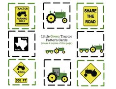 tractor printable ~ cut, craft and use for cupcake toppers {*For A John Deere Baby Shower*}