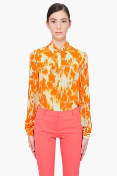 Matthew Williamson orange ikat silk blouse $725