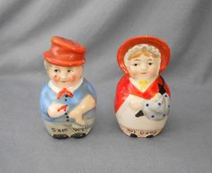 1940s Vintage Goebel Dickens Characters Sam Weller and Mrs. Gamp Salt and Pepper Shakers, Germany in figural