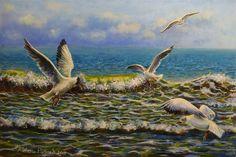Картина маслом 40х60 «Чайки в море» | Andrew Pugach