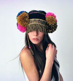 Black ethnic UTHA pom pom ear warmer....headdress by UTHA for sale online | Fashion on ArtRebels Shop