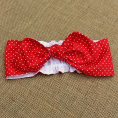Pin Up Bow Headband in Red Polka Dot. Girls NB to adult. Rockabilly style for little pin up baby doll! Made in USA by Sunshine Baby Clothing