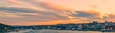 The sunset over St. Newfoundland, Canvas Frame, Wrapped Canvas, New York Skyline, Clouds, Art Prints, Sunset, Night, House