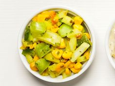 Corn-Tomato Relish : Mix 2 chopped green tomatoes, 1/2 cup each cooked corn, chopped onion and chopped seeded cucumber, and 2 tablespoons each chopped parsley, yellow mustard and cider vinegar.