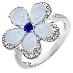 Color stone flower ring