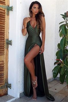 Olive Green Backless Split Elegant Simple Prom Party Dress V-Neck Long Floor Length Evening Gowns by Miss Zhu Bridal, $149.00 USD