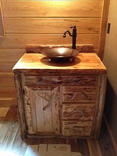 """Rustic Bathroom Vanities rustic log bathroom vanity - 36"""" - bathroom vanity with sink"""