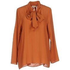 Her Shirt Blouse ($220) ❤ liked on Polyvore featuring tops, blouses, rust, long-sleeve shirt, orange blouse, shirt blouse, bow neck blouse and rust top