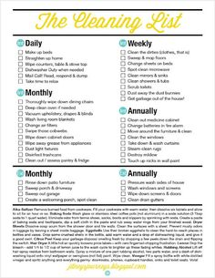 FREE Cleaning List just in time for Spring. Includes interior and exterior cleaning - daily, weekly, monthly and yearly. PLUS cleaning tips! #freeprintable #clean #list