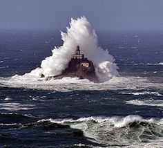 Tillamook Rock, OR. 1 mile west of Tillamook Head, a rock rises from the ocean. Where sheer cliffs drop straight into the sea to depths of 96 to 240 feet. A symbol of the precarious line between human endeavor and the forces of nature. Located 1.3 miles off the coast of Ecola State Park.